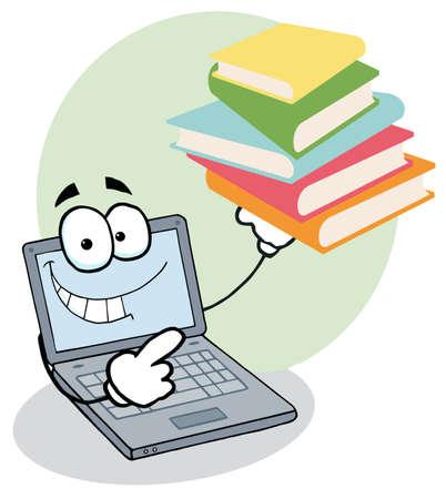 libro caricatura: Pila de muestra de car�cter port�til Cartoon de libros