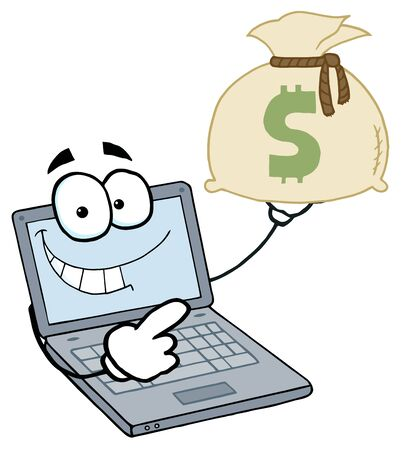 Laptop Cartoon Character Displays Money Bag Stock Vector - 6905342