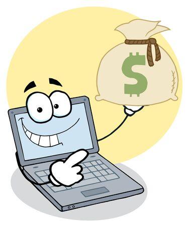 personal banking: Notebook Cartoon Character display Money Bag Vettoriali