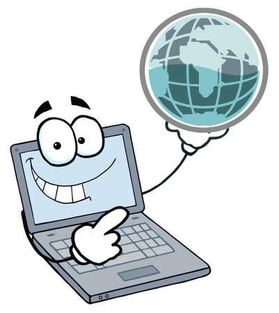 Notebook Cartoon Character Holding A Globe Stock Vector - 6905326
