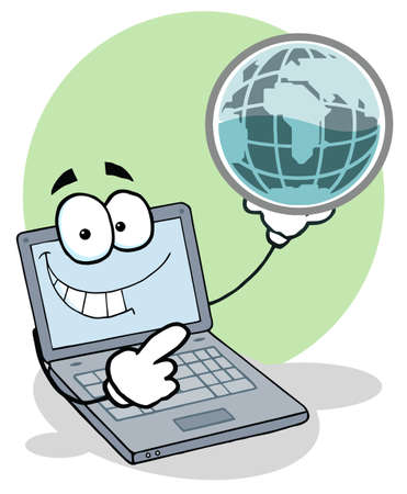 laptop: Laptop Cartoon Character Holding A Globe