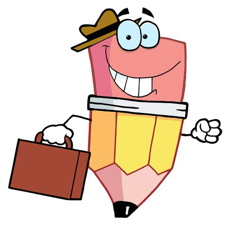 pencil cartoon: Car�cter de dibujos animados de l�piz un malet�n de transporte