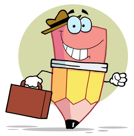 Pencil Cartoon Character Carrying A Suitcase Vector