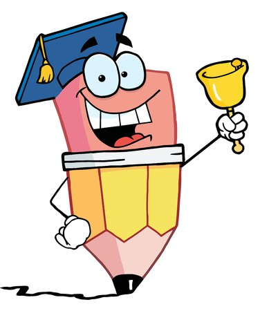 Graduate Pencil Cartoon Character Ringing A Bell Stock Vector - 6905291
