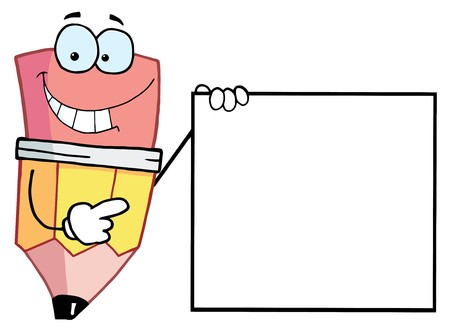 eraser: Pencil Cartoon Character Presenting A Blank Sign Illustration
