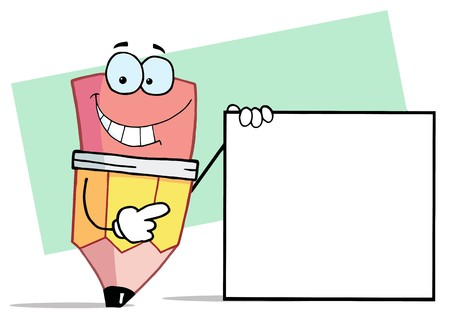 Pencil Cartoon Character Presenting A Blank