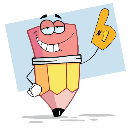 guy standing: Pencil Cartoon Mascot Character Is Number One