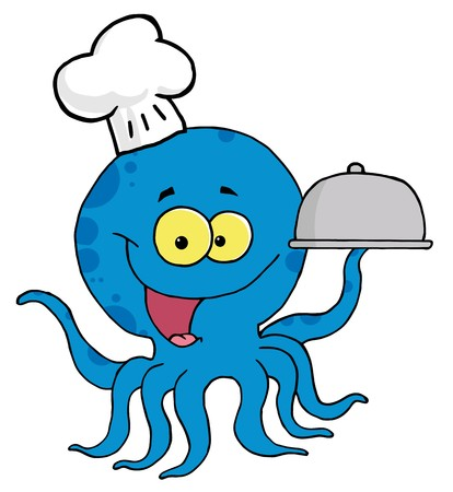 Cartoon Character Octopus Chef Serving Food In A Sliver Platter Çizim