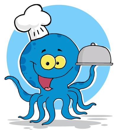 Octopus Chef Serving Food In A Sliver Platter Vector