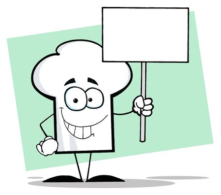 Chefs Hat Character Holding A Blank White Sign