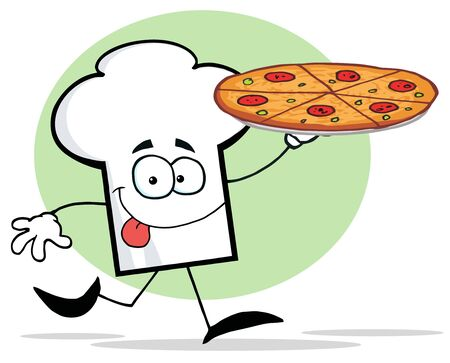 Chefs Hat Character Holding And Running With Pizza Vector