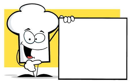 Chefs Hat Character Presenting A Blank Sign