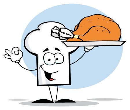 Chefs Hat Character Holder Plate With Turkey Vector