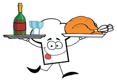 chicken dish:  Cartoon Chefs Hat Character Running With Tray Of Wine And Plate With Chicken