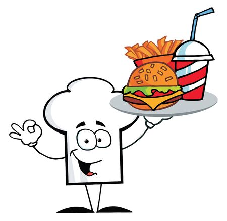 burger and fries: Cartoon Chefs Hat Character Holder Plate Of Hamburger And French Fries