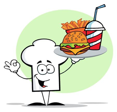 Chefs Hat Character Holder Plate Of Hamburger And French Fries Vector