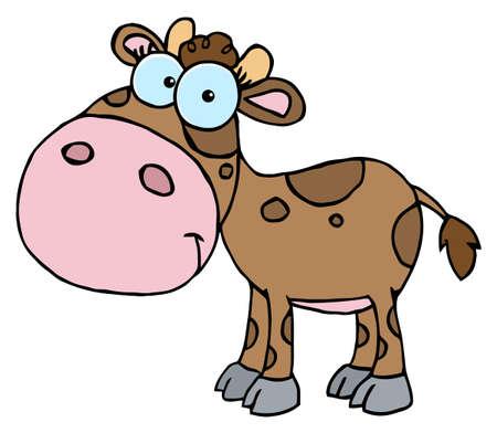 Mascot Cartoon Character Cute Little Cow Vector