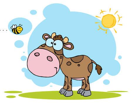 Cartoon Character Cute Little Cow Seen Flying Bee Vector