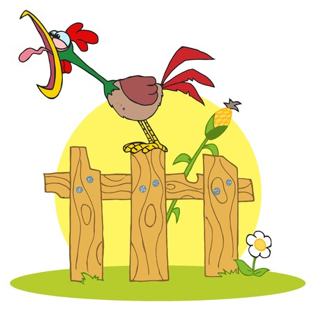 Cartoon Character A Cock Crowing Stepped On The Fence
