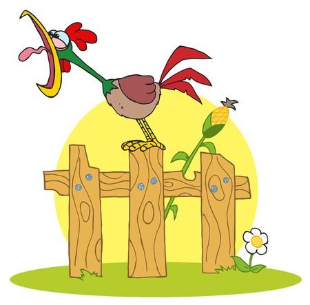 Cartoon Character A Cock Krähen abgestuften on the fence  Standard-Bild - 6905448