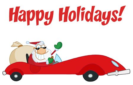 Happy Holidays Greeting With Santa Driving Stock Vector - 6905373