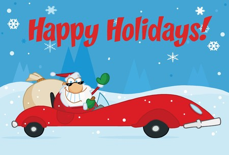 st claus: Happy Holidays Greeting With Santa Driving In The Snow Illustration