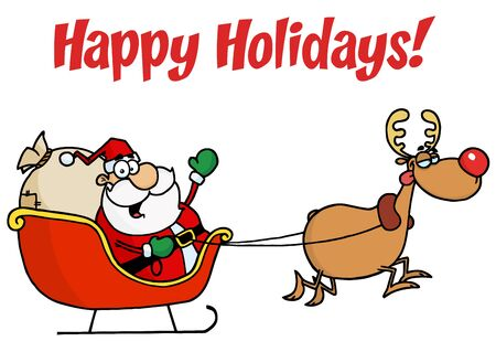 cartoon santa: Happy Holidays Greeting With Santa And Rudolph With A Sleigh