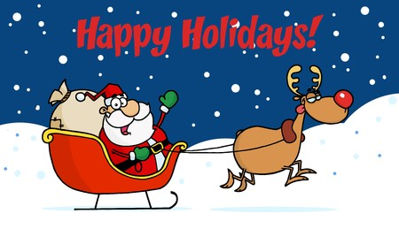 Happy Holidays Greeting With Santa And Rudolph With The Sleigh