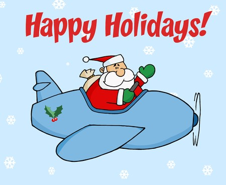 Happy Holidays Greeting With Santa Flying In The Snow