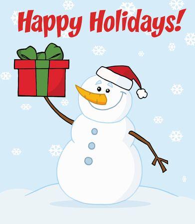joyous: Hombre de las Nieves alegre celebraci�n un presente de Navidad en la nieve