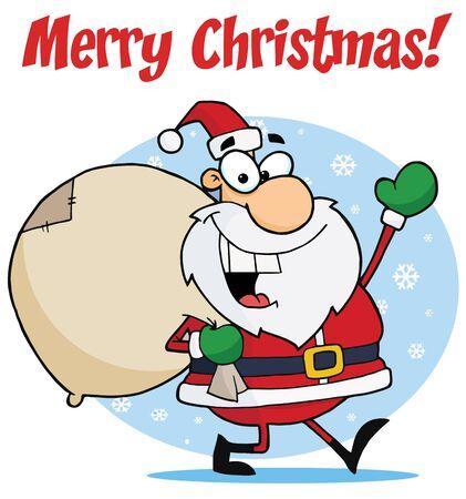 陽気なクリスマス サンタを振って、雪の中で彼のグッズの袋を運ぶ