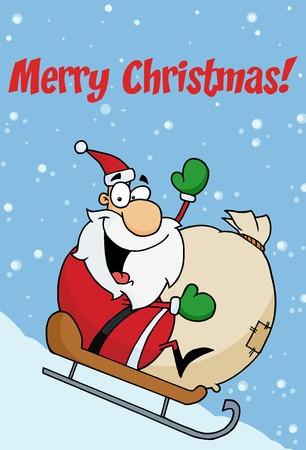 toy sack: El Jolly de Navidad Santa Waving Y trineo con su saqueo de juguetes en la nieve