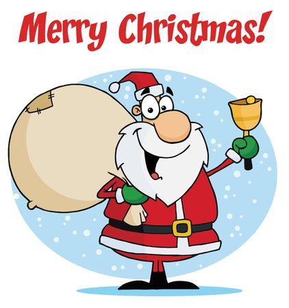 ベルを鳴らしているサンタとメリー クリスマスの挨拶