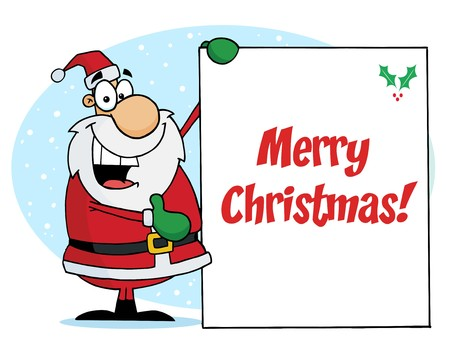 kris: Merry Christmas Greeting With Santa Presenting A Sign Illustration