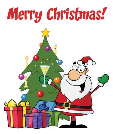 メリー クリスマスのあいさつでサンタ ツリーで乾杯