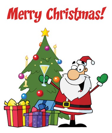 christmas greeting:  Merry Christmas Greeting With Santa Toasting By A Tree Illustration