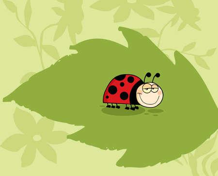 Mascot Cartoon Character Ladybug On Green Leaf In The Garden Vector