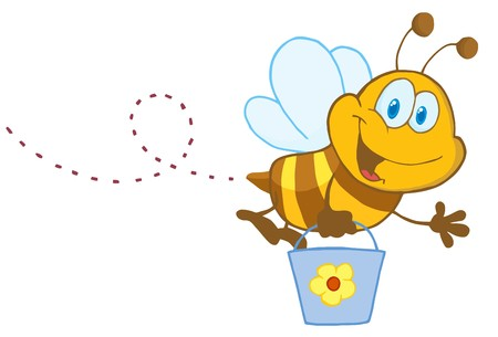 Cartoon Character Bee Flying Bucket