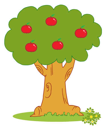 Apple Tree Covered With Red Apples Stock Vector - 6905335