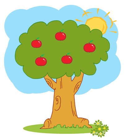 Apple Tree With Red Apples Stock Vector - 6905372