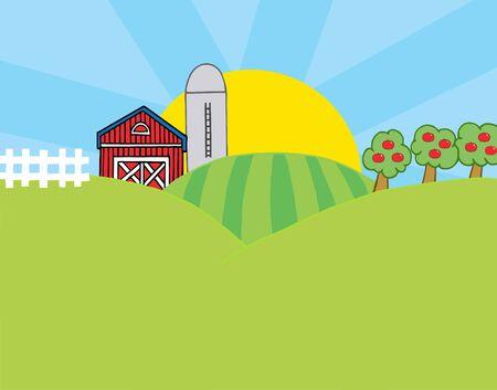 Country Farm Scene Stock Vector - 6905374