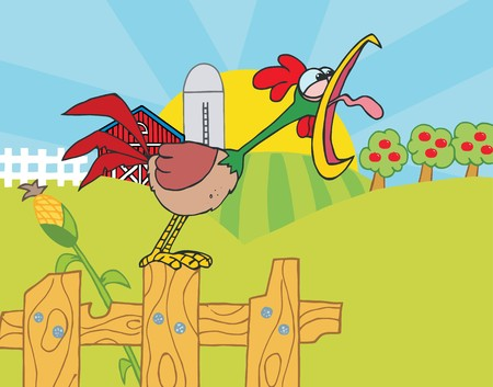 stock clip art icon:  Noisy Rooster Crowing On A Fence At The Edge Of A Pasture Illustration