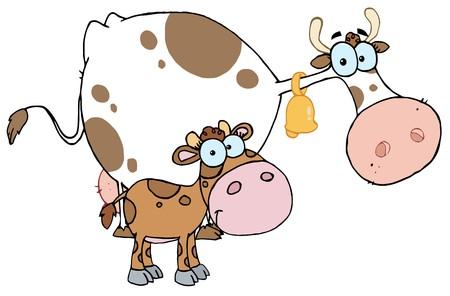 Manchado de ternero de una vaca de leche de mamá Foto de archivo - 6905424