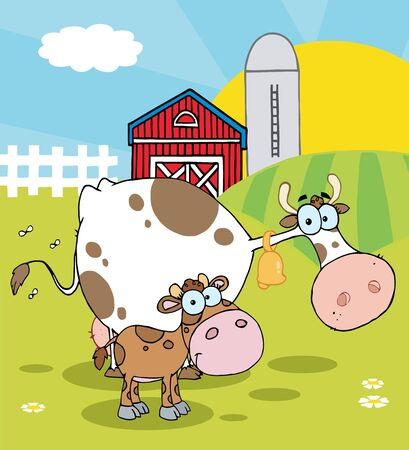 cartoony: Calf And Cow In A Pasture Near A Barn And Silo At Sunrise