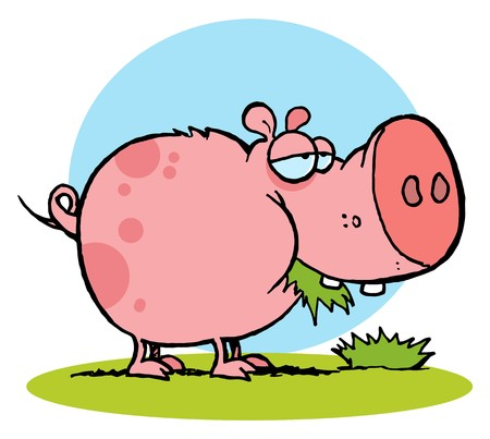 Chubby Pink Pig Snacking On Grass Ilustrace