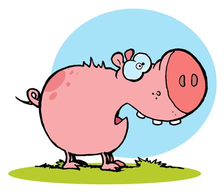 Scared Pink Pig With An Open Mouth Vector
