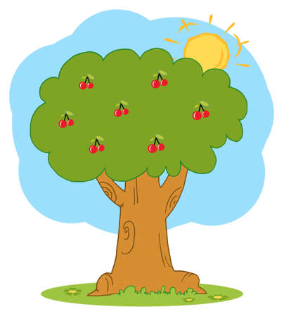 stock clip art icon: The Sun Merging Behind A Cherry Tree Illustration