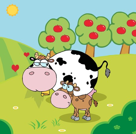 Baby And Mommy Cow In A Pasture Near An Orchard Illustration