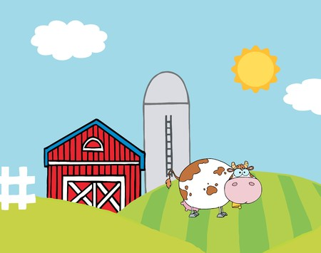 silo:   Lone Cow On A Hill Near A Silo And Barn Illustration