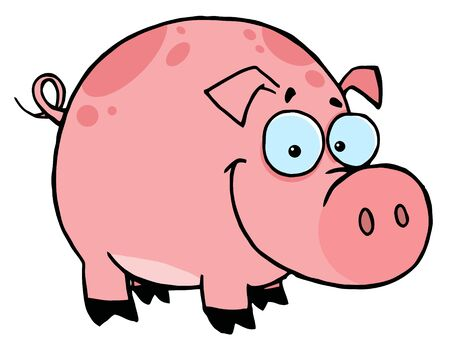 stock clip art icon:   Happy Smiling Pink Pig With Spots